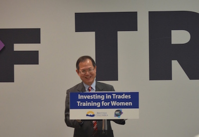 Burnaby North MLA Richard T. Lee announcing trades funding for women